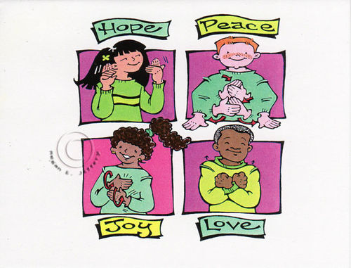 i do a fair amount of american sign language asl illustrations for educational publications so decided to go this route for 1999s christmas card - Asl Christmas